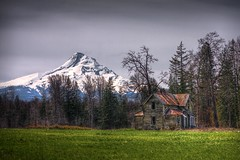 Diamond in the Rough? (Jeff Engelhardt) Tags: old trees winter house mountain snow tree abandoned grass oregon barn photoshop canon river spring bare rustic neglected rusty peak roadtrip east snowcapped valley tired rusted mthood worn april gorge decrepit mounthood hdr highdynamicrange hoodriver photomatix hoodrivervalley hottinroof 40d jeffengel jeffengelhardt