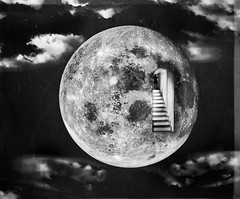 Un-deniable dilemma (sigillo_Lotus Flower) Tags: blackandwhite moon clouds stairs surreal midnight tool biancoenero dilemma undeniable sigillo