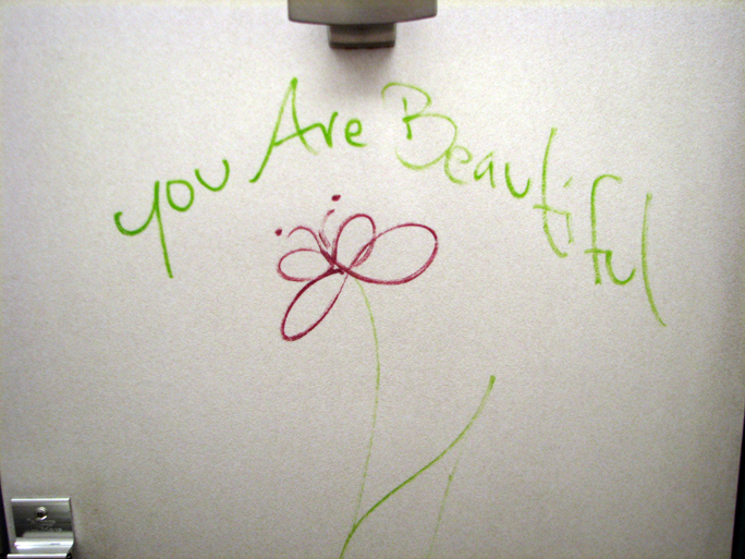rest stop bathroom stall message