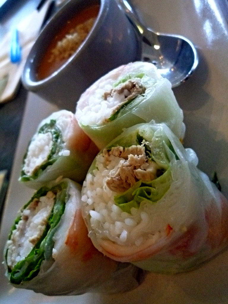 Slanted Door spring rolls with shrimp, pork, mint and peanut sauce