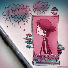 rainy weather (bengi gencer) Tags: pink bird rain illustration umbrella