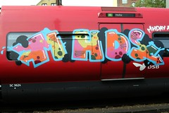 IMG_1314 (phluids) Tags: red train copenhagen denmark graffiti steel danish holte valby mhd stog mhds