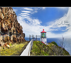 Makapu'u Lighthouse Fisheye (Ryan Eng) Tags: ocean sea sky clouds rocks hike explore trail frontpage waimanalo dri makapuulighthouse digitalblending nikkor105fisheye nikond90 ryaneng