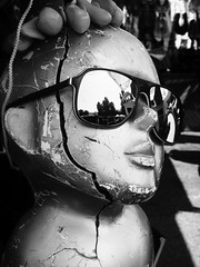 Headd (trashleycan) Tags: california old urban blackandwhite bw usa white black cute mannequin girl sunglasses fashion blackwhite day head melrose hollywood fairfax westhollywood fleamarket aviators bigsunglasses melrosetradingpost
