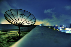 Airwaves (michaeljosh) Tags: longexposure blue clouds lights nightshot dish satellite philippines depthoffield citylights quezoncity gma7 project365 explored tamron1750mmf28 nikond90 broadcastequipment