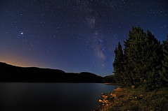 Moonshine Vs. Milky Way (Fort Photo) Tags: blue sky lake mountains tree nature night way stars landscape rockies star colorado nightscape searchthebest reservoir sagittarius moonrise astrophotography co moonlight astronomy rockymountains jupiter milky 2009 afterdark moonshine milkyway joewright catchycolorsblue cameronpass outstandingshots