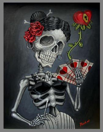 Skull Face Tattoo: tattoo-skull-rose