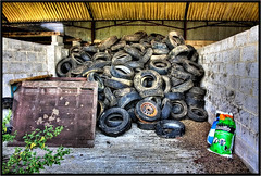The Tyre Depot. (Pat Dalton...) Tags: sky building canon bag wire bush rust mesh leicestershire timber farm sigma plastic frame sack tyres 1770mm 450d pdeee454