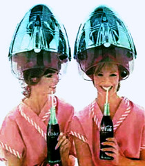 028 - Coke Break (Sydney Michelle) Tags: brown net set youth hair robe pair coke hood cocacola 1960s rollers brunette dryer sixties hairnet rolled curlers brownette