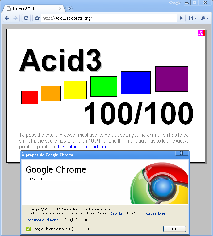 Google Chrome 3 - Acid Test 3