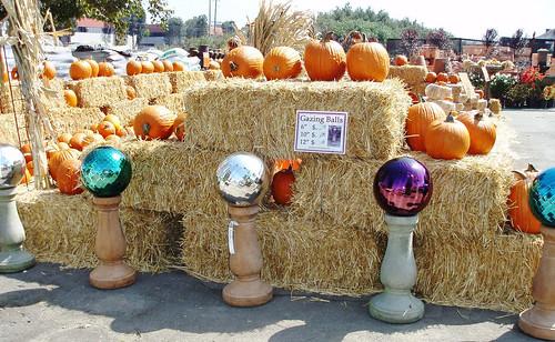 gazing balls, pumpkins, hay bales