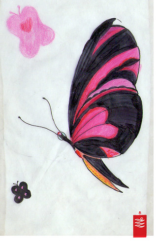 Black and pink butterfly tattoo flash