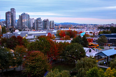 HERE COMES THE FALL IN VANCOUVER B.C. (GUITARTWIN ( ray morales jr )) Tags: city trees red canada green fall yellow canon eos colours falsecreek granvilleisland vancouverbc 50d guitartwin