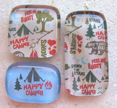 3 Camping and Outdoor Themed Glass Magnets with Decorated Gift Tin