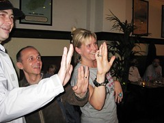 David, Bodo and Annelie attempting a Vulcan salute