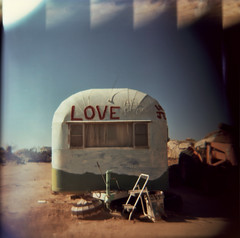 (hopefuldoubtful) Tags: california love film holga lightleaks trailer salvationmountain allpeople
