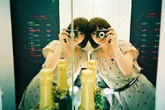 (tae*) Tags: film me japan tokyo mirror twins natura april tae classica 2011  naturaclassica 1600film slightlydrankp