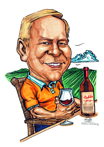 Wine appreciation caricature at vineyard