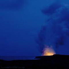Planet Earth... still in progress (Rex Maximilian) Tags: ocean sea night volcano hawaii lava twilight smoke shore bigisland kilauea pele plume vog bigisle lavabed islandofhawaii
