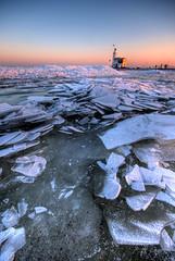 Ice Ice Baby (Esther Seijmonsbergen) Tags: winter sunset lighthouse holland ice frozen dusk thenetherlands explore vuurtoren hdr marken 3xp hummocks hummock kruiendijs estherseijmonsbergen hummockyice