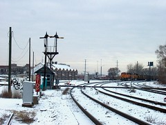 Southbound BNSF Railway unit coal train waiting for clearance at Brighton Junction. Chicago Illinois. January 2007.