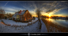 One year on flickr ! - Cold sunset @ Zennegat, Mechelen, Belgium :: HDR :: Panorama (Erroba) Tags: houses sunset cold ice water clouds photoshop canon river rebel frozen warm belgium belgique tripod belgi sigma tips remote 1020mm erlend hdr mechelen cs3 3xp photomatix tonemapped tonemapping zennegat xti excellentcapture 400d erroba robaye erlendrobaye vosplusbellesphotos