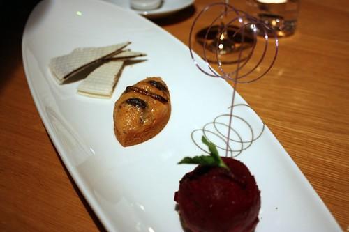 Pernik s karotkou a kandovanym hmyzem servirovany s ostruzinovym sorbetem a cokoladovym oplatkem se susenymi cervy