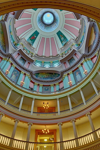 Old Courthouse, Jefferson National Expansion Memorial, in Saint Louis, Missouri, USA - view up into dome