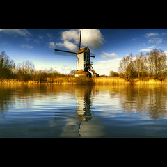 The Blue Mill (Dimitri Depaepe) Tags: reflection mill nature windmill bravo hdr xxxxxxxxxxxxxxxxxxxxxxx