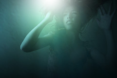 Wish (ilina s) Tags: blue selfportrait horizontal underwater cyan floating sinking drowning photoshopeffect ilinas fuerzabrutatribute