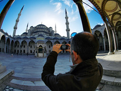 The Invisible Guest takes the Blue Mosque (Sator Arepo) Tags: leica blue architecture turkey reflex photographer minaret turkiye istanbul mosque fisheye sultan bluemosque zuiko digilux sultanahmedmosque digilux3 8mmed invisibleguest retofz090415 retofz1010105 retofz100105 retoafz20100530