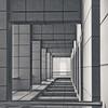 Spanish Square, a virtual door - Le Carré espagnol, la porte  cachée... (FXGR) Tags: barcelona bw square spain nb explore fxg outstandingshots favemegroup8 granveau