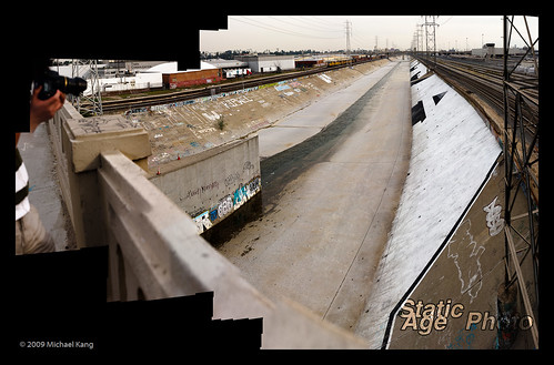 L.A. River. Mosaic of 41 images.  © 2009 Michael Kang