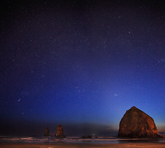 A time and place for everything (Zeb Andrews) Tags: ocean blue night oregon digital stars landscape coast dusk pacificocean pacificnorthwest nightsky haystackrock afterdark bluemooncamera zebandrews starfields canon5dmarkii zebandrewsphotography