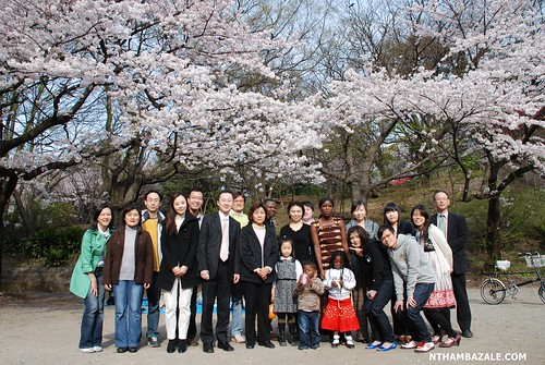 With members of the Tokyo Full Gospel Church - English Service at the Cherry Blossom Party - different view