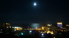 Zhuhai - Jiuzhou Port, Full Moon (cnmark) Tags: zhuhai scenic landscape jiuzhou jida china guangdong night city cityscape port harbour harbor light ships boats cranes full moon reflection pearlriver southchinasea holidayresorthotel jiuzhouport 中国 广东 珠海 九洲港 夜间 满月 ©allrightsreserved geo:lat=22246304 geo:lon=113575351 geotagged explore explored platinumheartaward nacht nachtaufnahme noche nuit notte noite lumixaward longexposure langzeitbelichtung