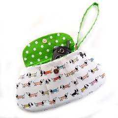 Wristlet with dogs in sweaters (Jennifer Ladd handmade) Tags: dog white cute green dogs bag japanese sweater handmade sewing craft dachshund purse pouch handbag wristlet jenniferladd wistblog