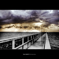 Half and Half ([ Kane ]) Tags: bw storm colour wet rain clouds dawn pier australia brisbane qld queensland kane hdr wellingtonpoint gledhill kanegledhill kanegledhillphotography