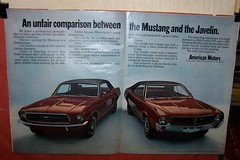 1967 Ford Mustang & 1968 American Motors Javelin (coconv) Tags: auto old classic cars ford hardtop car vintage photo am automobile post antique postcard ad picture automotive literature motors card american 1967 1968 mustang collectible amc rambler collectors brochure coupe sst 67 advertisment 68 javelin lookmagazine automobilia