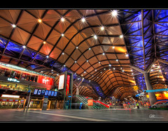 Southern Cross Station - HDR (Dale Allman) Tags: longexposure station architecture night lights australia melbourne wideangle victoria hdr 1740 photomatix southerncrossstation auselite canon5dmkii