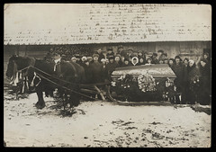 Early 1920s Russian Photograph of Horse Hauling Sleigh Hearse w/ Casket (Ballyhooligan) Tags: cemetery dead death tombstone casket fluid funeral embalming vault macabre corpse coffin director dying russian sleigh hearse mortuary embalm