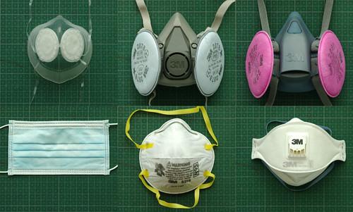 Top 3: reusable respirator, bottom 3: disposable mask