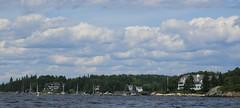 "Summer ""cottages"" (MaineIslandGirl) Tags: ocean summer beach water dark island bay harbor boat maine august down atlantic east lobster bake 2009 penobscot islesboro"