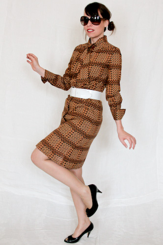 VINTAGE 70s Autum Fall Check Shirt secretary Dress S M