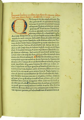 Rubric and decorated initial in Thomas Aquinas: Quaestiones de quodlibet I-XII