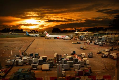 フリー写真素材, 建築・建造物, 工場・産業機械, 旅客機, 夕日・夕焼け・日没, 空港, シンガポール,