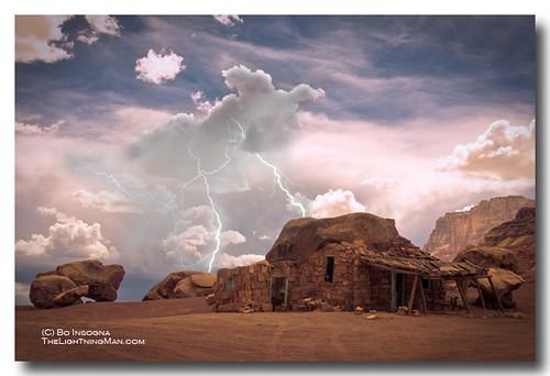 Southwest Navajo Rock House and Lightning Strikes