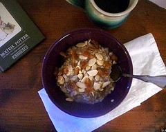 Beatrix Potter & oatmeal breakfast (buttermilk*blue) Tags: coffee breakfast yum weekend saturday banana almonds figs blackcoffee driedfigs toastedalmonds weekendbreakfast scottishoatmeal whippedbanana goldenfigs
