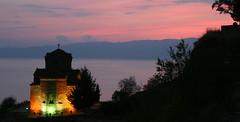Macedonian Sunset (Andrew Ferrier) Tags: travel sunset red lake church canon europe 300d macedonia ohrid balkans fyr