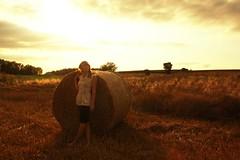 r e m (Leentje Schoofs (Little L*tje)) Tags: sunset portrait sun selfportrait me field grass self stack haystack hay canon1000d